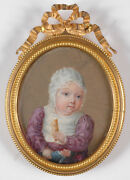 Little Girl With Doll Fine French Portrait Miniature/organic Wafer Ca.1820