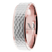 14k Solid Gold Two Tone 6mm Wide Hammered Wedding Ring