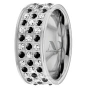 10k Gold 6mm Wide 1.80 Ctw Black And White Diamond Wedding Ring