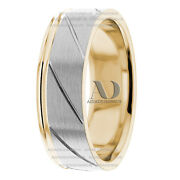 10k Gold 7mm Wide Two Tone Striped Pattern Wedding Ring