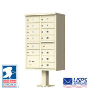 13 Door Cluster Mailbox Unit - Cbu - Usps Approved - Free Bolt Kit And Engraving