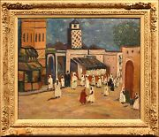 Impressionistic 20th Century Oil Painting Of Rabbi In Middle Eastern Bazaar