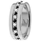 10k White Gold 8mm Wide 1.08ctw Black And Clear Diamond Wedding Ring