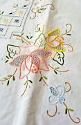 Vintage Hand Embroidered And Cut Work 64 Round Linen Tablecloth W/8pcs Napkins
