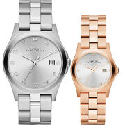 New Marc Jacobs Henry His And Hers Silverrose Gold Bracelet Watch Set Mbm9042