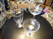 Set Of 3 Fostoria Holly Champagne / Low And Tall Sherbet / Ice Tea 6030 Mint