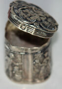 Original Antique C1800and039s Sterling Silver Solid Thimble Case W/ Detailed Design