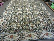 9and039 X 12and039 Hand Made French Aubusson Savonnerie Needlepoint Wool Rug Floral Beauty
