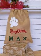 Pet Stocking Christmas Bag Burlap Pouch Personalized Paw Hessian Dog Lovers