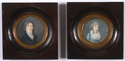 Portraits Of Monsieur And Madame Coulon Two French Miniatures