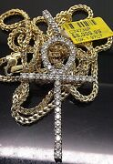 1.97 Ct Diamond 10k Yellow Gold Ankh Charm Pendent And 10k Yellow Gold 26 Chain