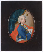 Portrait Of A Young Aristocrat High Quality German Oil/tin Miniature 1746