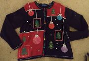 Vintage Womens Ugly Christmas Sweater Large Prize Winner Christmas Balls Sequins