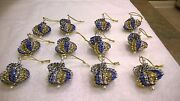 12 Handmade Christmas Ornaments Made With Bling Royal Blue, Gold And Silver