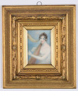 Mrs Anne Mee Young Lady Playing Harp Important Miniature Ca. 1800