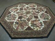 8and039 X 8and039 Vintage Petit Point Hand Hooked Chinese Octagonal Wool Rug With Backing