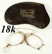 Antique 18k Gold French Pince Nez Spectacles In Fine Condition Hallmarks Case