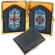 Antique Beadwork And Leather Cigar Cigarette Case, Suitable Or Cell Phone Or Purse