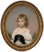 Little Girl With King Charles Spaniel British School Oil On Canvas Ca.1800