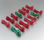 """Vintage French """"french Poodle"""" Majolica Knife Rests, Burgundy And Green, 14 Pcs"""
