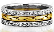Two Tone Hand Braided Womenand039s Diamond Wedding Band 14k Gold Womens Ring 8mm Wide