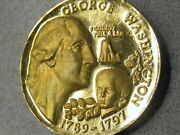 Wittnauer 1972 President George Washington Gold Ep On Sterling Silver 40mm Medal