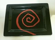 Rare Tabletops Unlimited Urban Graffiti Spiral Dinner Plate - Red And Black - Mint