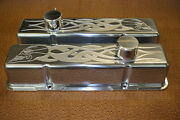 Chevy Sb Sh Skull Flames Small Block Stock Height Breathers Pcv Valve Covers