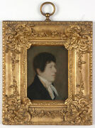 Portrait Of A Young Gentleman English Oil On Tin Miniature 1810/20s