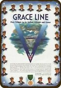 1943 Grace Line Santa Cruise Ship Wwii Officers Vintage Look Decorative Metal Si