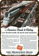 1943 Milwaukee Road Railroad And Army Tank Vntg-look Decorative Replica Metal Sign
