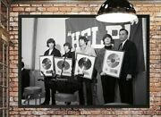 Art Print Poster /canvas The Beatles Holding Gold Records