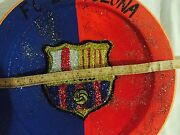 Fc Barcelona Decorative Large Red Clay Potteryplate/hand Made In Safi/morocco