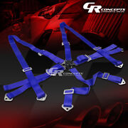 6-point 2 Wide Blue Strap Harness Safety Camlock Style Racing Seat Belt+bolts