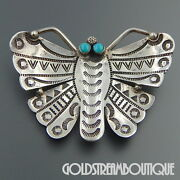 Federico Jimenez Sterling Silver Turquoise Stamp Work Butterfly Pin Brooch