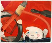 Cindy Eid Oil Or Acrylic Painting On Canvas Bicycle Raggedy Ann Still Life Red