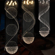 Led Crystal Staircase Pendant Lamp Hotel Lobby Modern Round Living Room Ceiling