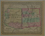 1867 Genuine Antique Map Of Arizona And New Mexico. Hand Colored. A Mitchell