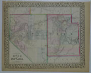1870 Genuine Antique Map Of Arizona And New Mexico. Hand Colored. S A Mitchell Jr