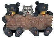 Forest Pals Welcome Sign Black Bears And Racoon 16 Length Figurine Garden Decor