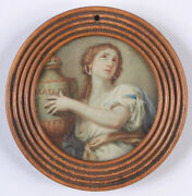 Artemisia With Urn Of Mausolus's Ashes, German Miniature, Late 18th Century