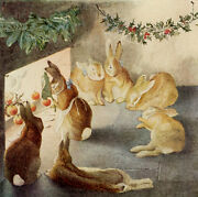 Rabbits Christmas Party After The Meal By Beatrix Potter Paper Print Repro