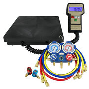 Ac Manifold Gauge Set R410a R22 R134a W/hoses + Electronic Charging Scale 220lbs