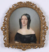 Mlle Fanny D'ivry Portrait Of A Lady In Black Gown, Fine Miniature, Ca. 1840