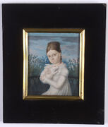 Girl With Her Favorite Rabbit, Fine German Miniature On Organic Wafer, 1815