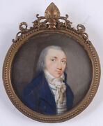 Portrait Of A Gentleman Period Of Directory Fine French Miniature 1795/1800