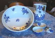 Dunn Bennett Co English Rose Flow Blue Chamber Wash Pitcher Bowl 3pc Soap Dish