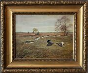 20th Century Oil Painting Of Chickens On The Farm Landscape Signed P. Mockek