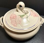 Handmade Casserole Soup Tureen Double Handle Lid Carved Floral White Clay Glazed