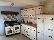 Solid Pine Freestanding Kitchen Base And Wall Cupboards Pantry Set Up Oak Top